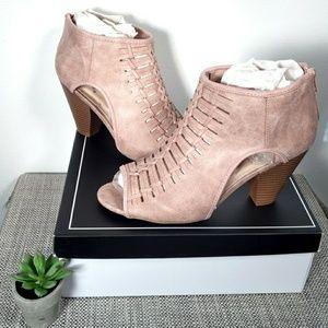 Woven blush peep toe heel ankle booties - sz.9 NWT